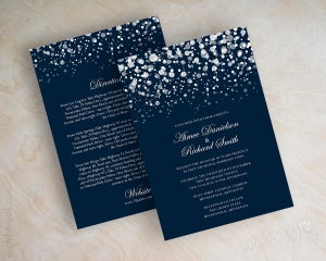 Image of Glitter Navy Wedding invitations