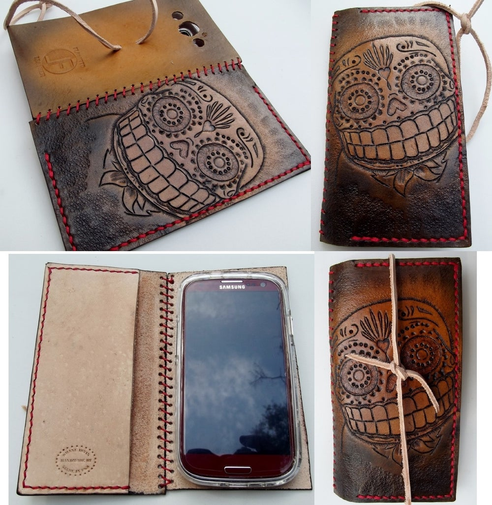 Image of Custom Hand Tooled Leather Smartphone smart phone case. Made to fit any phone.