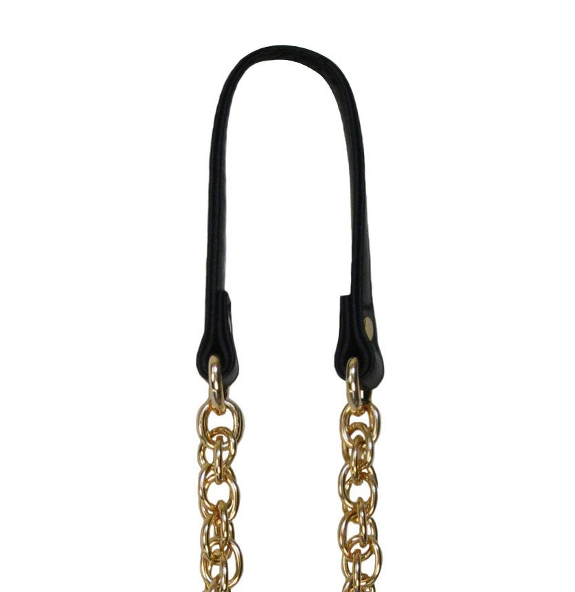 Image of GOLD Chain Strap with Genuine Leather Handle -Prince of Wales- Choice of Length & Hooks