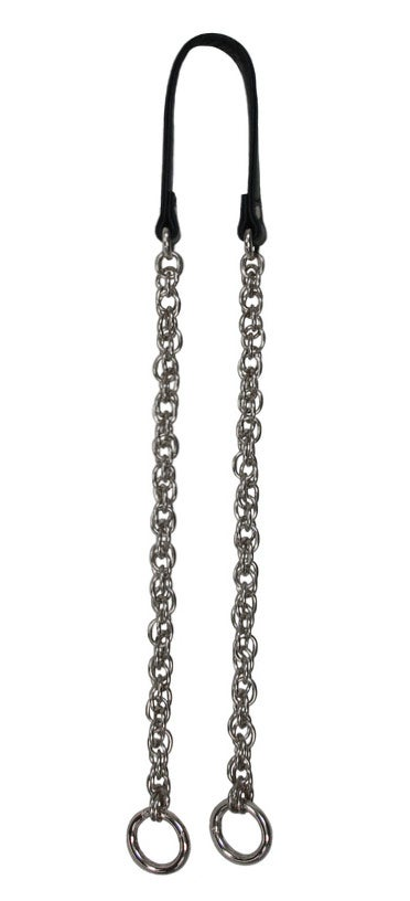 Image of NICKEL Chain Strap with Genuine Leather Handle -Prince of Wales- Choice of Length & Hooks