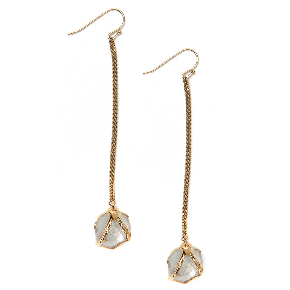 Image of Flourite Octahedron Drop Earrings