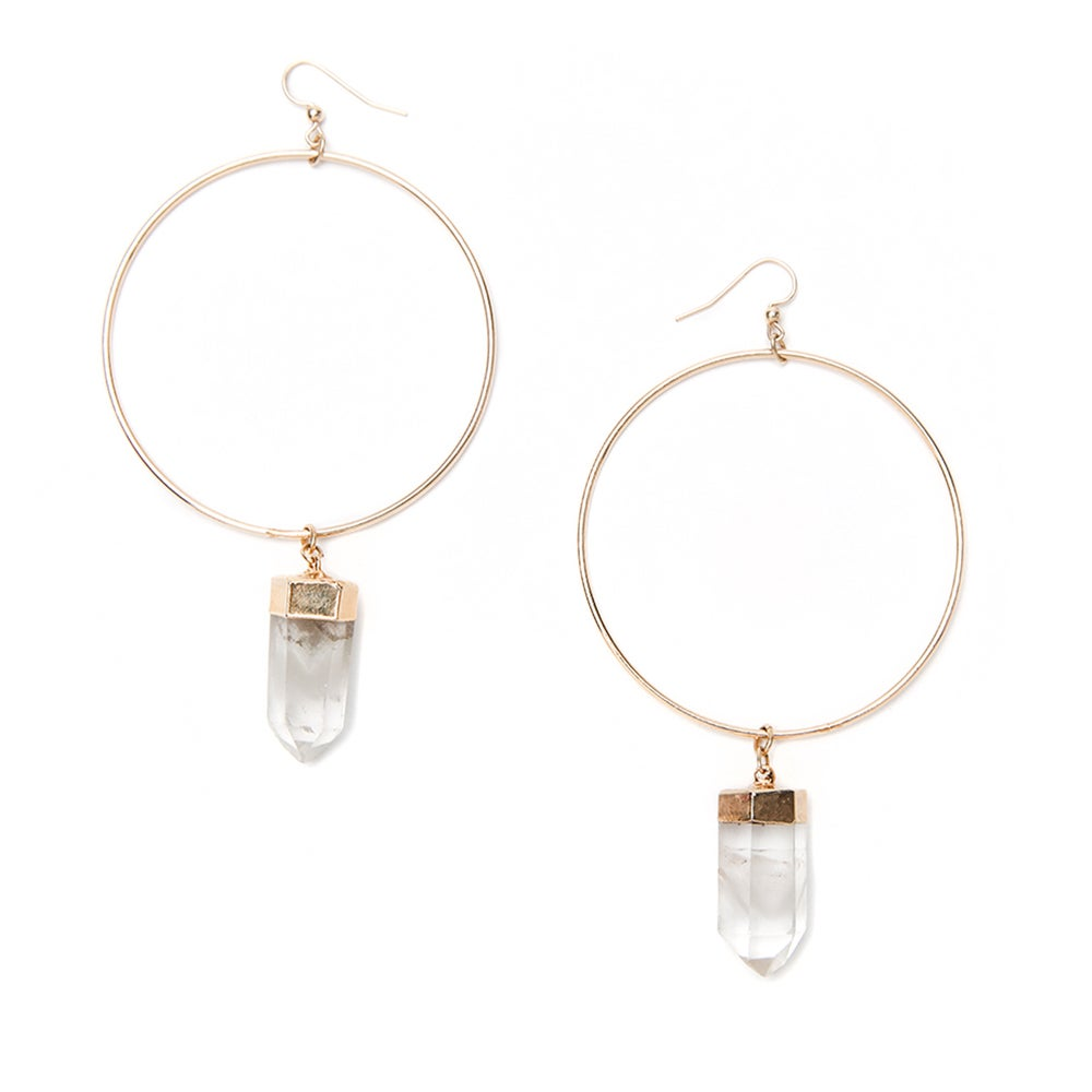Image of Lemurian Quartz Hoops