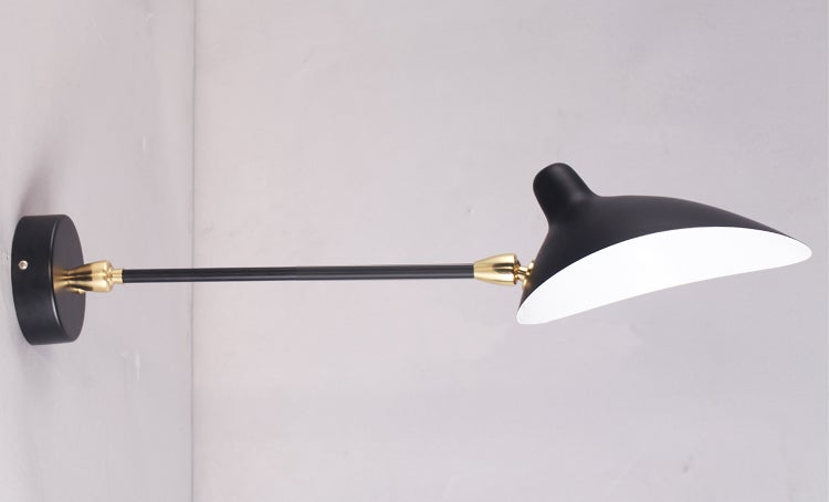 Image of Serge Mouille Style Sconce 1 Rotating Straight Arm Lamp -  Applique 1 Bras