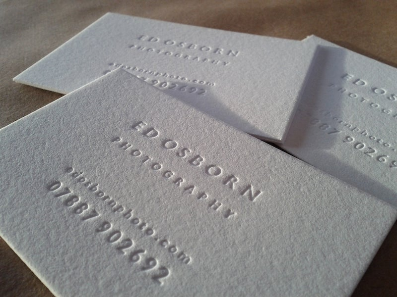 Letterpress business cards and wedding invitations maple tea image of inkless blind debossed letterpress business cards reheart Choice Image