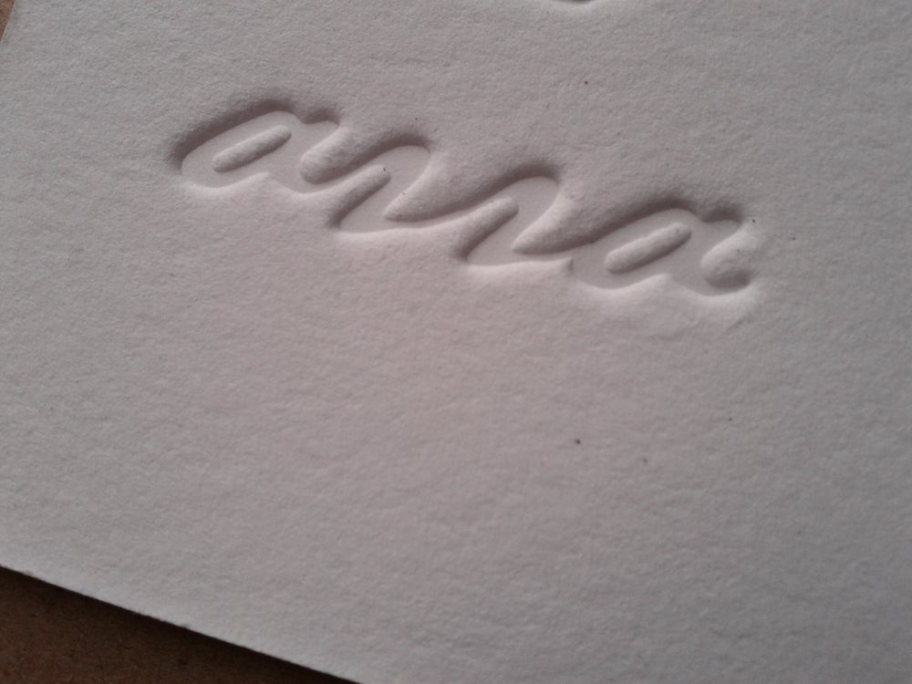 Image of Inkless (blind debossed) letterpress business cards
