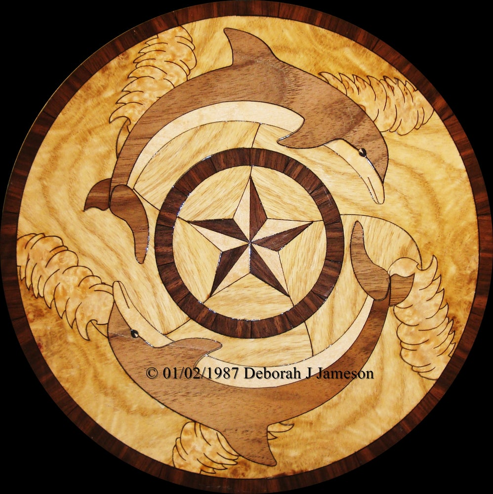 Image of Item No. 272. Nautical Dolphin Inlay Marquetry. Price on Application
