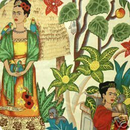 Image of FF Frida Kahlo Frida's Garden Fabric - 2 Colorways Available COTTON FABRIC QUILT FABRIC