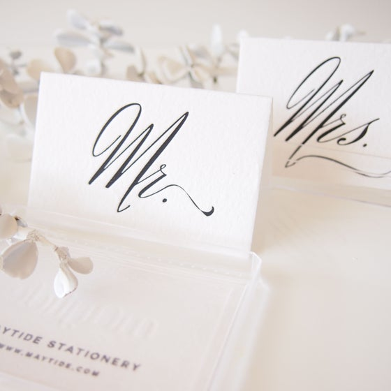 Image of Mr + Mrs Place Card Set - Black