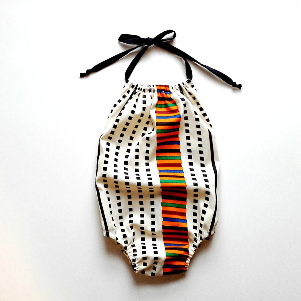Image of African Print Sunsuit - cream black