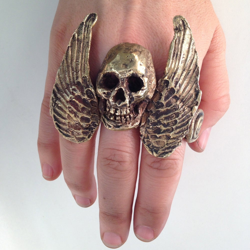 Image of The Wings Of Icarus Skull Ring
