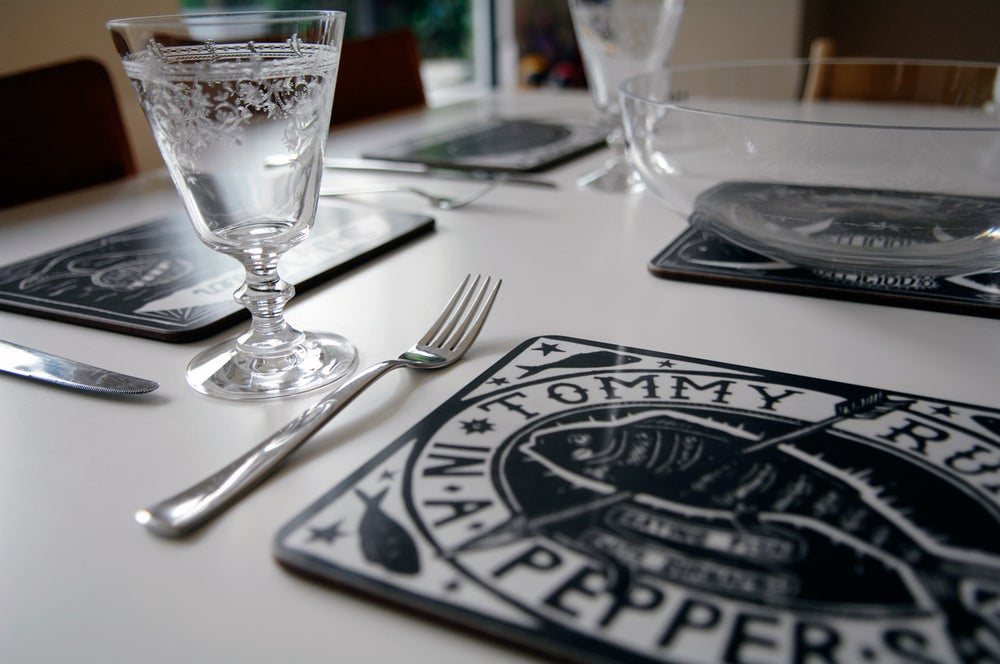 Image of Table placemats: 'Eating fish with surnames' by Alexis Snell