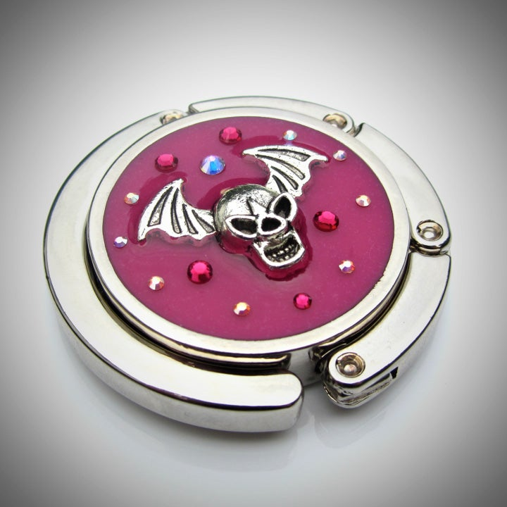 Image of Pink Rocks Skull Silver Bag Hook
