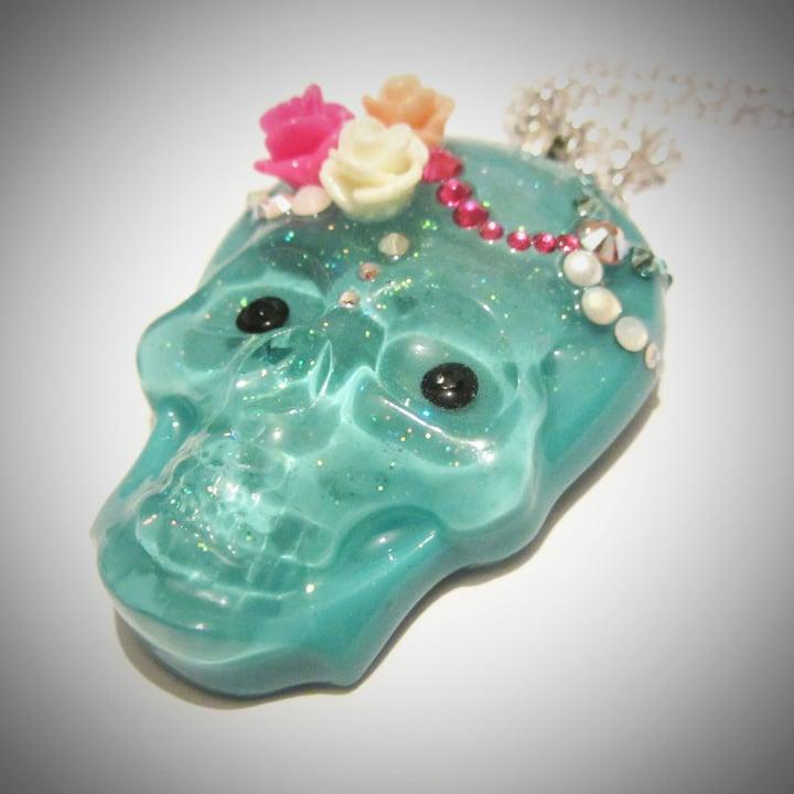 Turquoise Skull Swarovksi Resin Pendant  * ON SALE - Was £14 now £8 *