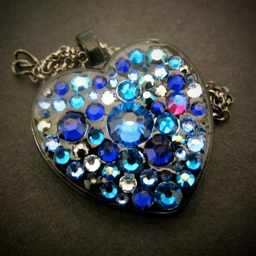 Image of Midnight Rocks Blue Black Heart Pendant