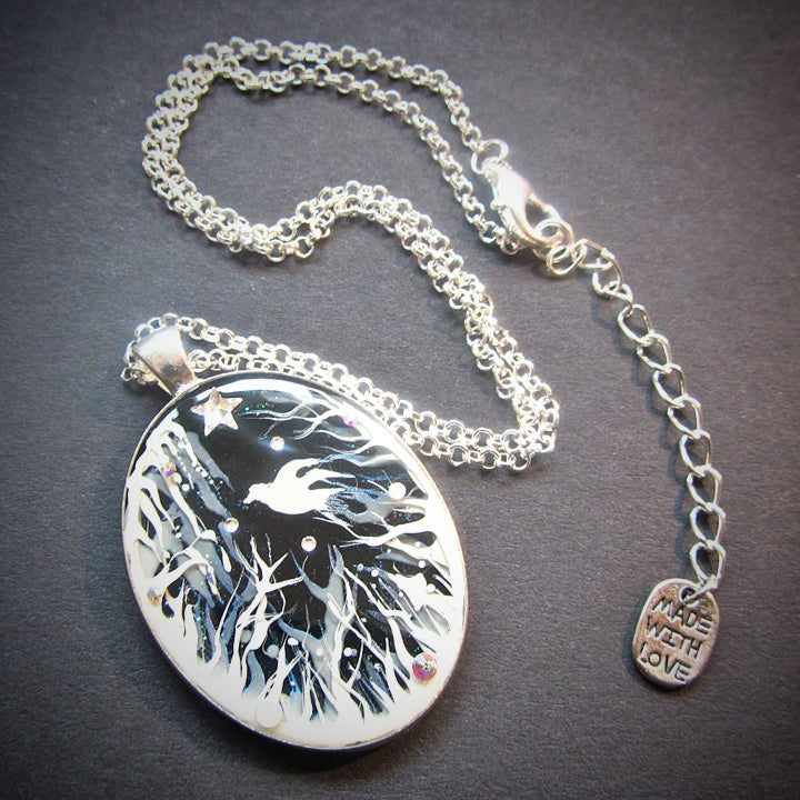Forest Macabre White Oval Pendant