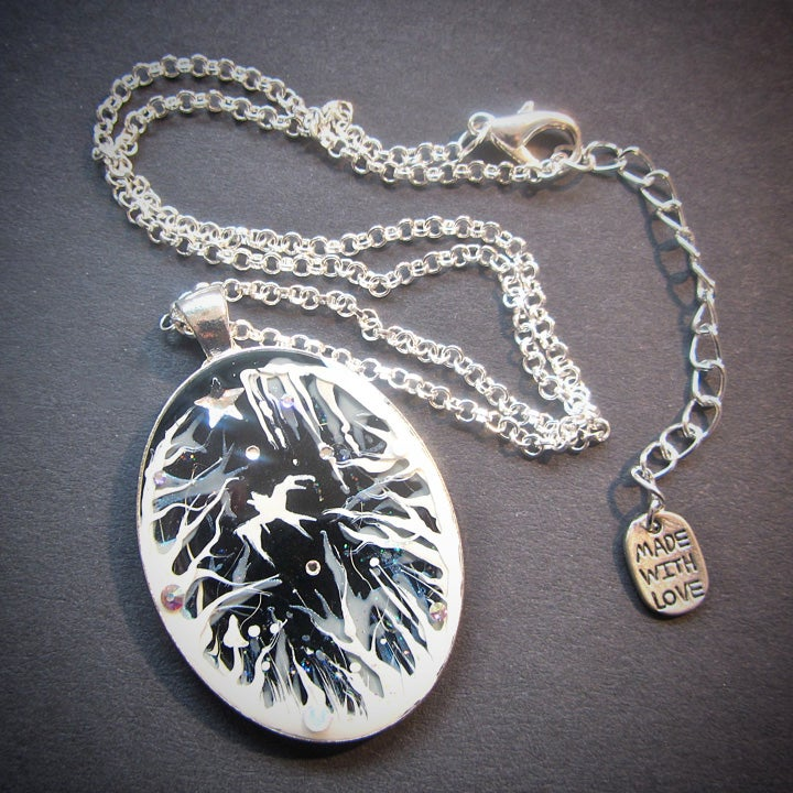 Forest Macabre White Oval Pendant  * ON SALE - Was £20 now £15 *