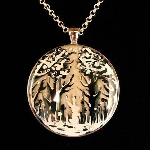 Image of Winter Bunny Round Silver Pendant