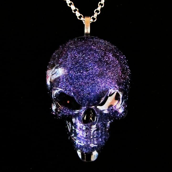 Glitter Resin Skull Pendant