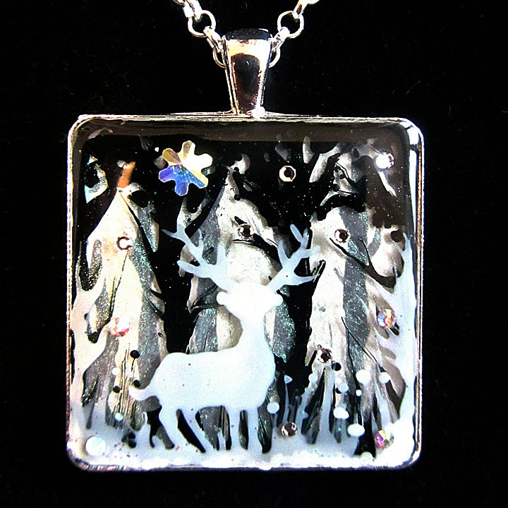 Winter Sparkles Stag Square Silver Pendant  * ON SALE - Was £25 now £15 *