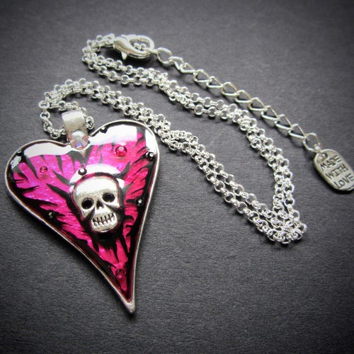 Image of Pink Rocks Skullie Heart Silver Pendant