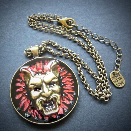 Image of Demon Bronze Round Pendant