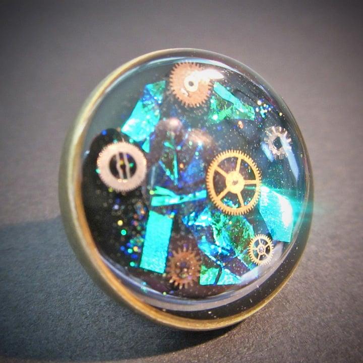 Emerald Steampunk Bronze Ring