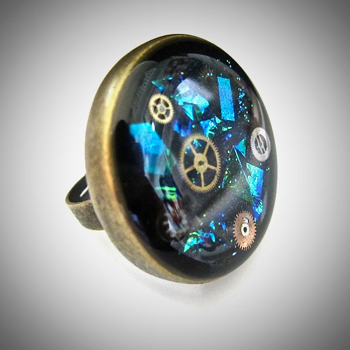 Image of Emerald Steampunk Bronze Ring