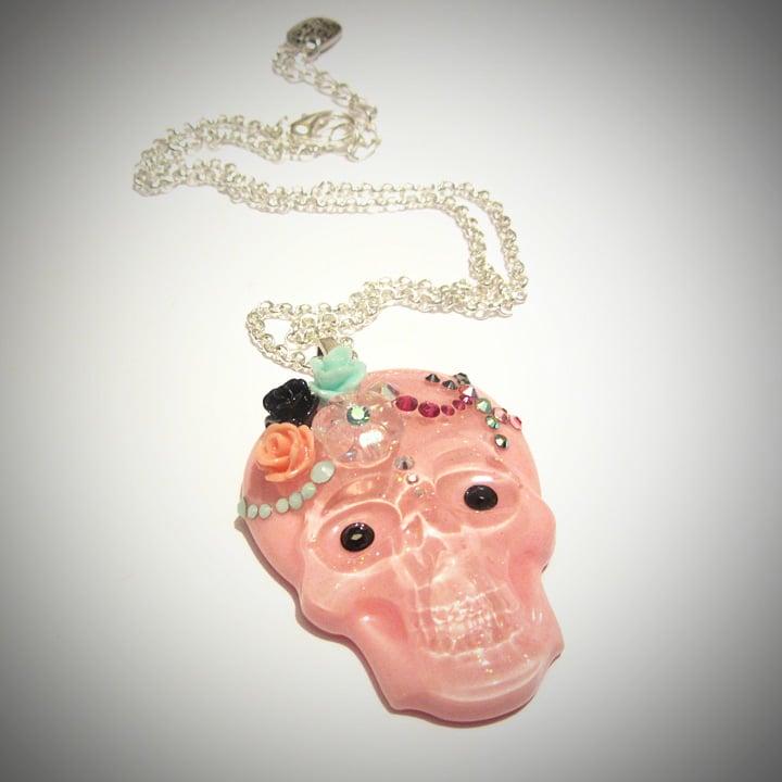 Pink Skull Swarovksi Resin Pendant  * ON SALE - Was £14 now £8 *