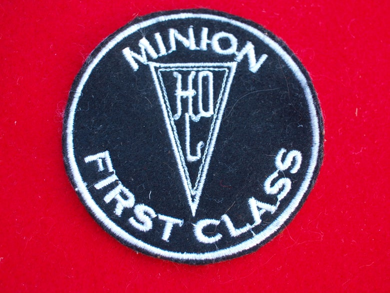 "Image of Herr Döktor's Laboratory embroidered ""MINION FIRST CLASS"" Patch"