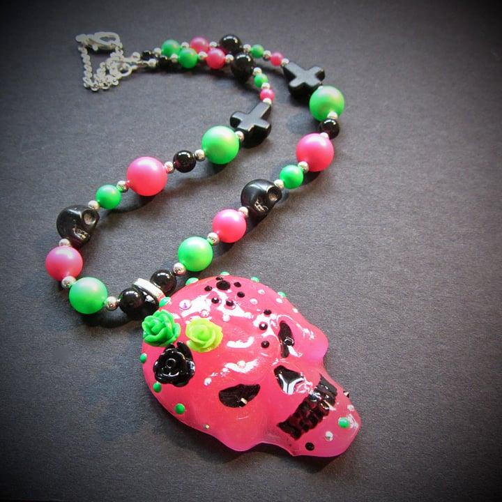 Fluorescent Sugar Skull Swarovski Necklace  * ON SALE - Was £30 now £15 *