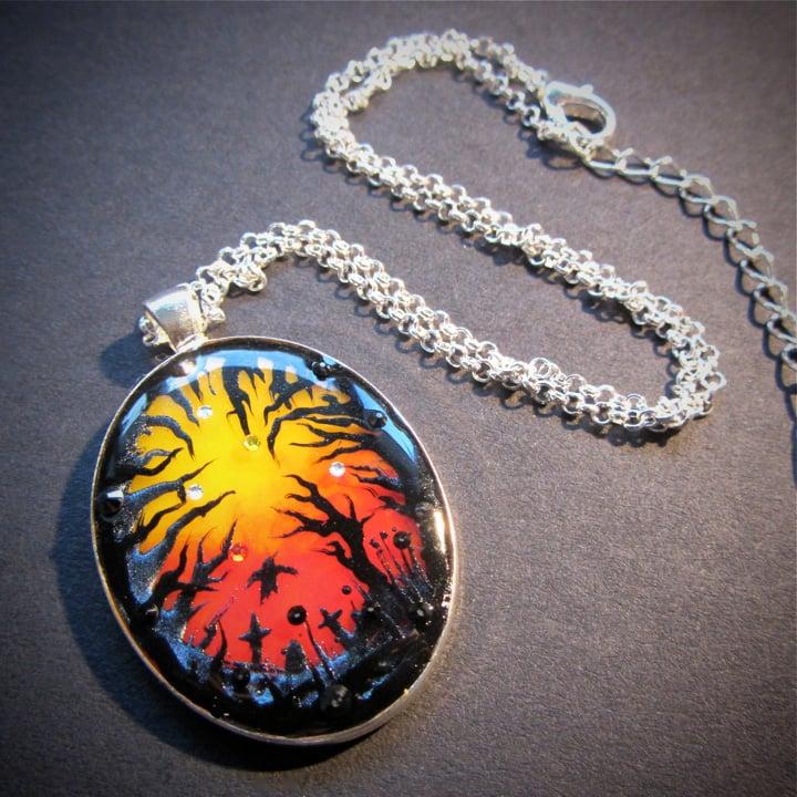 Halloween Sunset Oval Silver Pendant