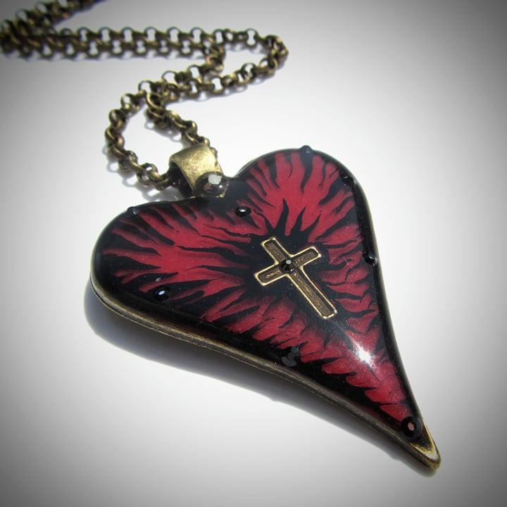 Image of Ruby Rocks Cross Heart Bronze Pendant
