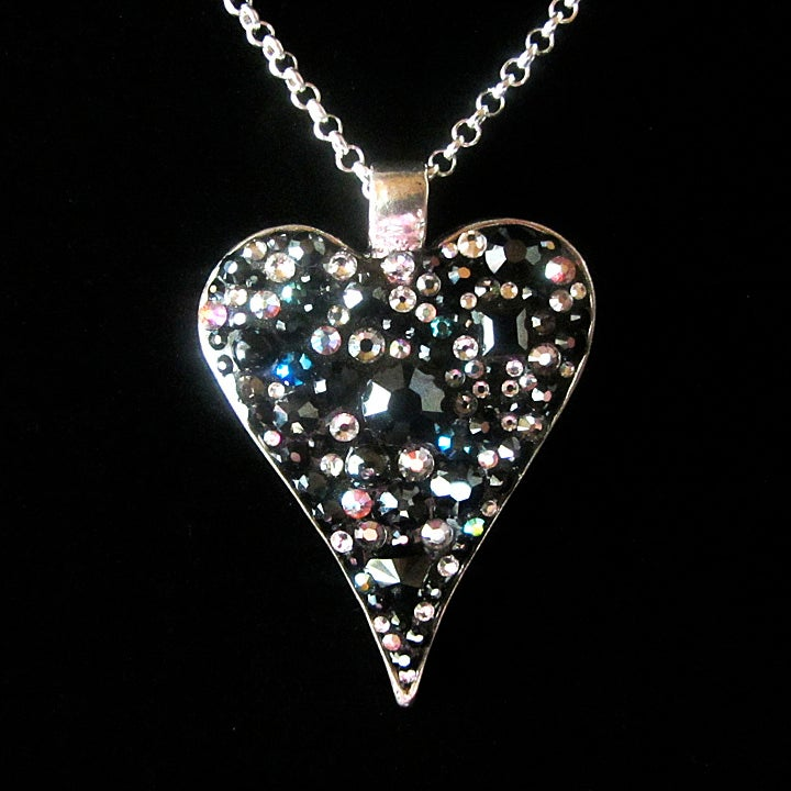 Image of Obsidian Rocks Heart Silver Pendant
