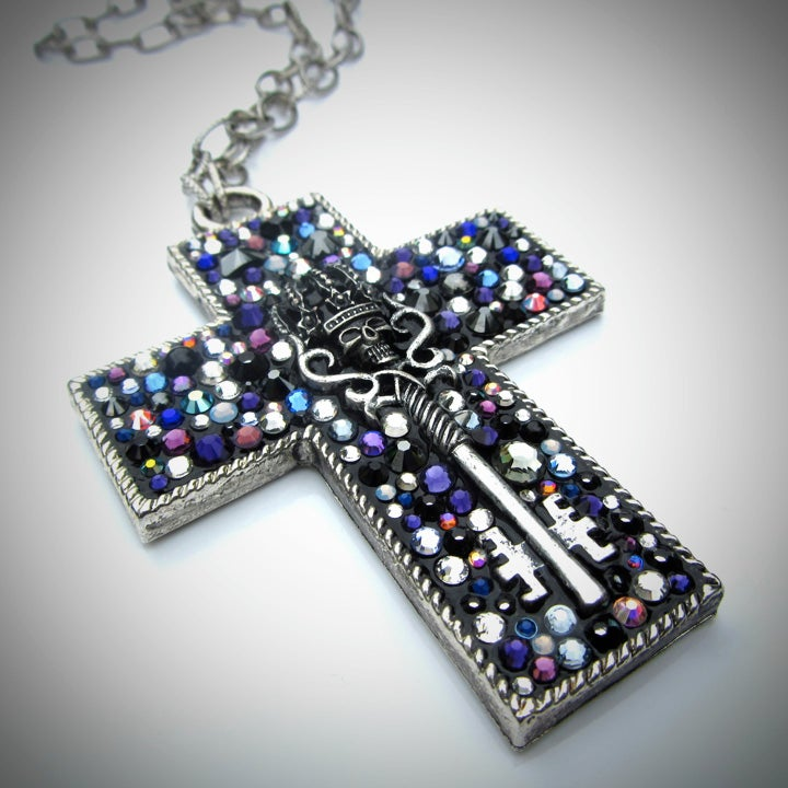 Midnight Rocks Silver Cross Pendant