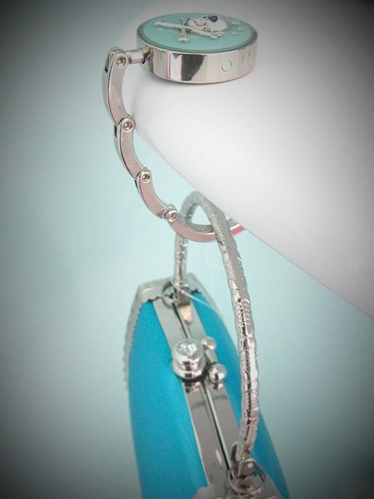 Aqua Skullie Silver Bag Hook