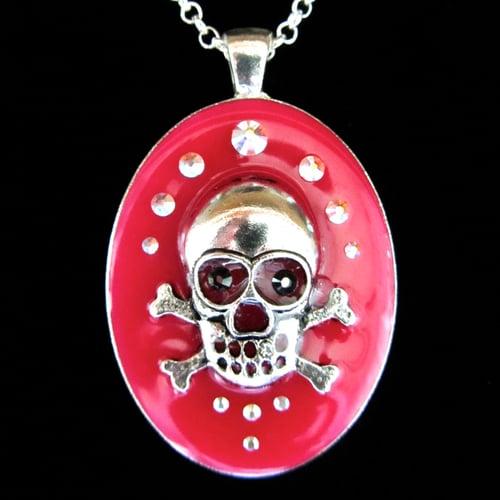 Image of Pink Rocks Skullie Silver Oval Pendant