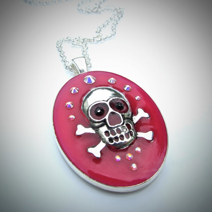 Image of Pink Rocks Skullie Silver Oval Pendant