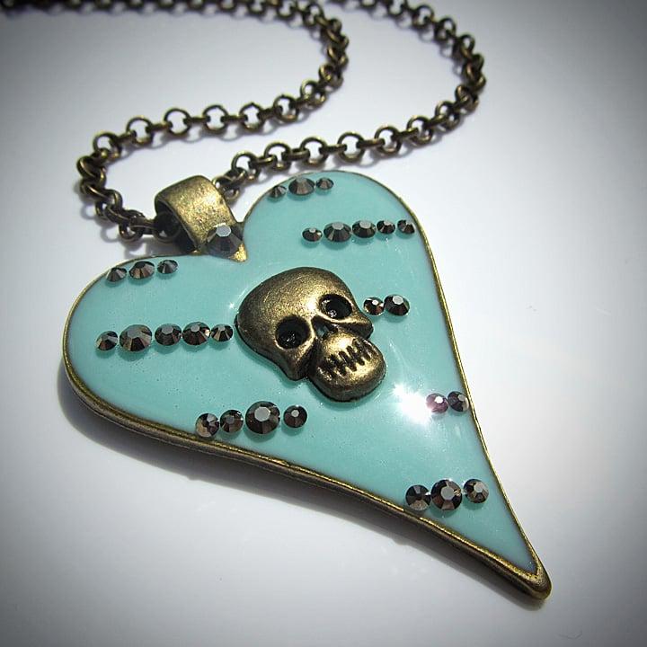 Aqua Abstract Skullie Heart Pendant