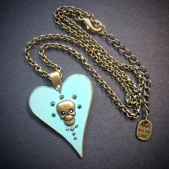 Aqua Halo Skullie Heart Pendant