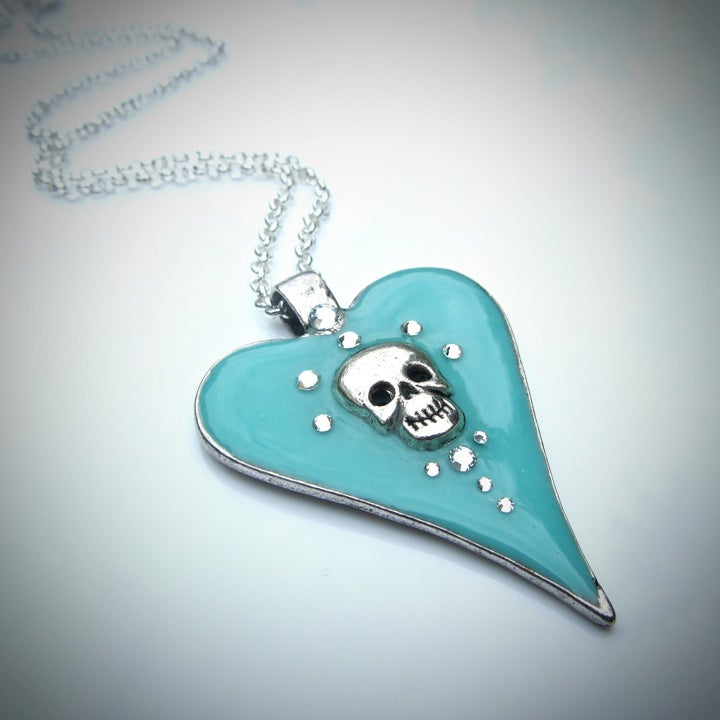 Image of Aqua Halo Skullie Heart Pendant