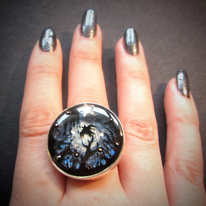 Midnight Moon Silver Ring