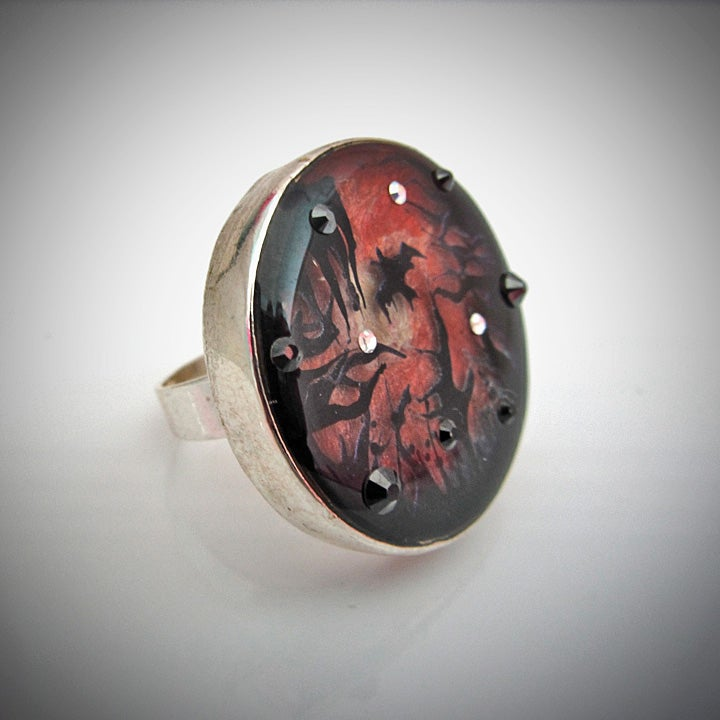 Vampire's Sunset Silver Ring