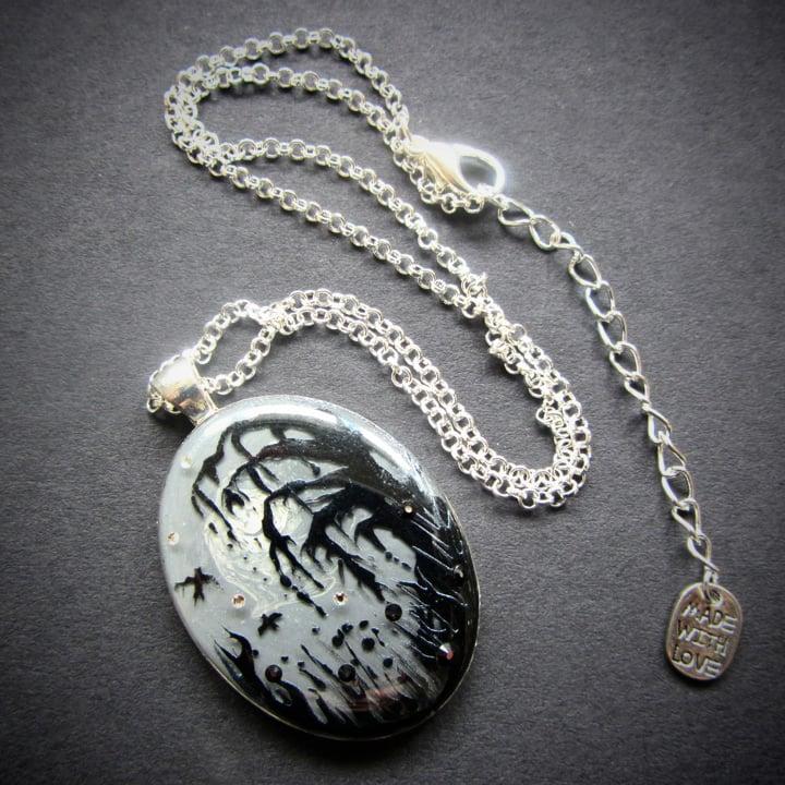Forest Macabre Monochrome Oval Silver Pendant