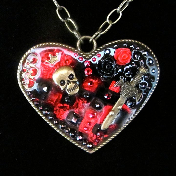 Gothic Heart Patch Large Pendant