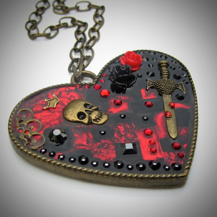 Image of Gothic Heart Patch Large Pendant