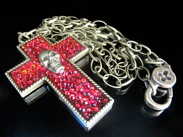 Ruby Rocks Bronze Cross Pendant  * ON SALE - Was £48 now £22 *