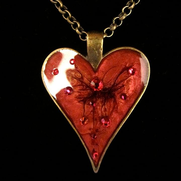 Ruby Rocks Heart Bronze Pendant
