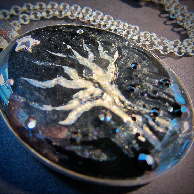 Winter Sparkles Creepy Tree Silver Pendant  * ON SALE - Was £15 now £10 *