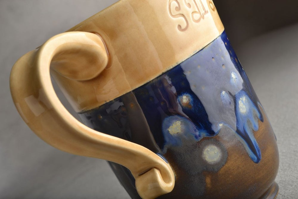 Image of Personalized Mug Made To Order Personalized Stamped Coffee Tea Cocoa Mug by Symmetrical Pottery
