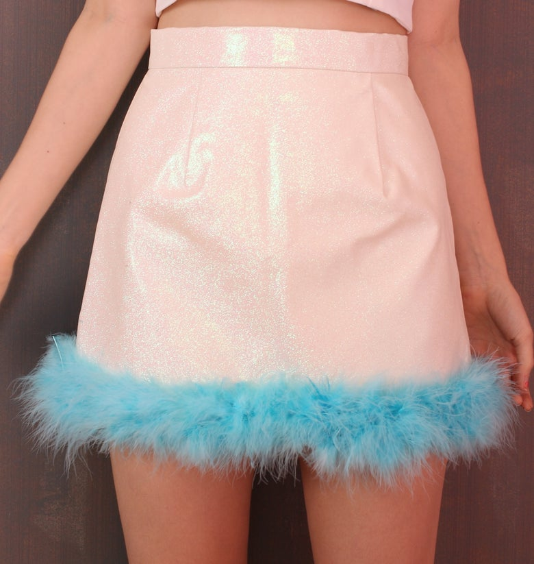 Image of  Michelle White Glitter Skirt with Blue Fur